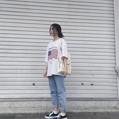 Boyish Outfits, Teen Fashion Outfits, Retro Outfits, Cute Casual Outfits, Girl Outfits, Korean Girl Fashion, Korean Street Fashion, Ulzzang Fashion, Korea Fashion