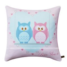 Blue And Pink Love Owls Cushion