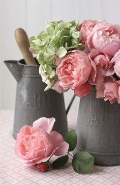 Shabby Chic, Two Granite Ware Coffee Pots willed with Pink Peonies, White/Green Hydrangea