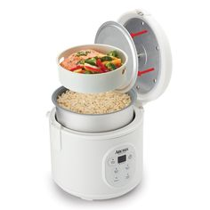 """Enjoy easy home cooking with this Rice Cooker Steamer. Restaurant-quality rice. Healthy steamed meals. Delicious one-pot dishes. Prepare all this and more at the touch of a button! Aroma takes the """"cook"""" out of home cooking - turning kitchen time into your time! Help the kids with homework, get creative at play time or pick up that novel you've been waiting to dive into."""