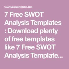 Free Swot Analysis Templates  Excel Pdf Formats  Swot