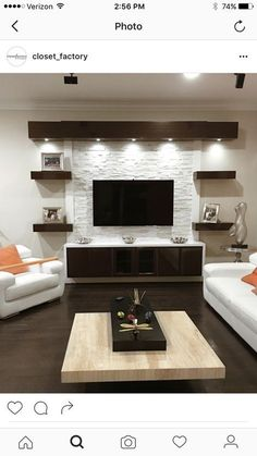 17 DIY Entertainment Center Ideas and Designs For Your New Home Do you have a brand-new house? If so, knowing about DIY entertainment center suggestions may be essential for you. We have 17 inspiration for you Living Room Modern, Home Living Room, Living Room Decor, Tv Wall Ideas Living Room, Living Area, Good Living Room Colors, Room Wall Colors, Ceiling Design Living Room, Cozy Living