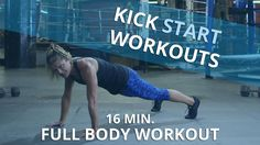 In this episode of Kickstart Workout, certified personal trainer Holly Rilinger demonstrates a full-body routine that only takes 16 minutes. There is zero equipment required to do this cardio strength training workout - all you need is your own body weight! This workout alternates 1 minute of strength moves followed by 30 seconds of cardio. Holly takes you through two cycles of the following moves: walk-outs to jumps, high knees, squat / lunge combo, lateral slides, push up to a side plank, ...