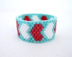 Peyote Ring / Beaded Ring / Zig-Zag Ring in by MadeByKatarina