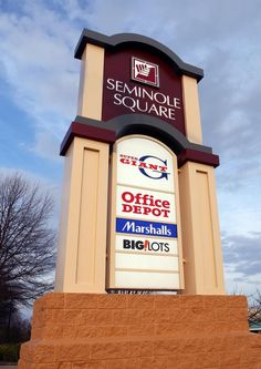 Seminole Square monument pylon sign- designed, manufactured, and installed by Carousel Signs & Designs