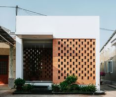 World Architecture Community News - built this small house with brick walls as a shield of the house in Ho Chi Minh city Good House, Tiny House, Small Houses, Cozy Living Spaces, Brick Facade, Brick Walls, Ground Floor Plan, House Drawing, Ho Chi Minh City