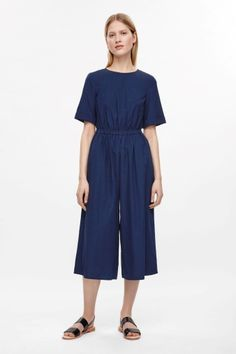 COS image 1 of Wide-leg cotton jumpsuit in Blue