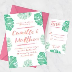 Tropical Wedding Invitation Set with by MissDesignBerryInc on Etsy
