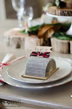 Repurpose old and unused books into beautiful place cards.