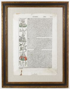 """Lot 153: Leaf from Hartmann Schedel's """"Nuremberg Chronicle"""" Illuminated Manuscript; 1493, illustrated by Michel Wolgemuth (German, 1434-1519), numbered 699 in pencil lower left; pen writing on the back identifying the work; Provenance: The Estate of Dr. Esther Sprague Sparks (professor of Art History)"""