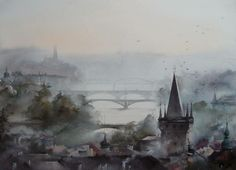 "Painter: Ilya Ibryaev  - MORNING IN PRAGUE - (from the series - ""Pigeons of Prague"") - watercolor (73х53) cm"