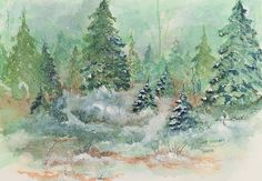 Winter Wonderland Lee Beuther, #watercolor, #trees