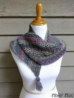 Philomena Shawlette, a free crochet pattern from Fiber Flux