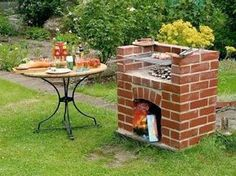 You can build this barbecue yourself. (Source: DIY Academy) Source by Outdoor Oven, Outdoor Fire, Outdoor Living, Backyard Sheds, Backyard Patio, Brick Grill, Diy Academy, Patio Kitchen, Grill Design