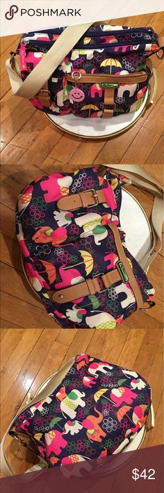 "Ladies LILY BLOOM ""FLORAL FIESTA""   Shoulder  Bag Ladies LILY BLOOM ""FLORAL FIESTA""   Shoulder  Bag / Purse elephant floral colorful multi pockets cross body umbrella LiLy Bloom Bags Hobos"