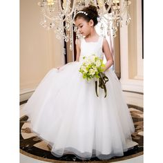 A-line Square Ankle-length Satin And Tulle Wedding/Party Flower Girl Dress
