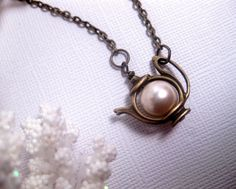 Teapot Necklace Pearl Tea Charm by FashionCrashJewelry on Etsy