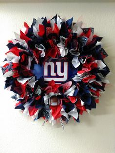 New York Giants Wreath - New York Giants Fans - New York Giants Home Decor by WHCraftCreations on Etsy https://www.etsy.com/listing/487462945/new-york-giants-wreath-new-york-giants
