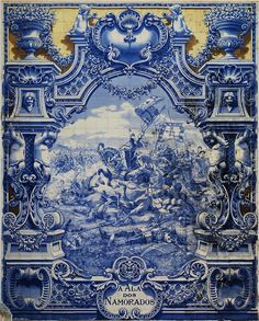 azulejos - Panel of glazed tiles by Jorge Colaço depicting an episode from the battle of Aljubarrota between the Portuguese and Castilian armies. A piece of public art in Lisbon, Portugal. Delft, Tile Art, Mosaic Tiles, Tile Murals, Tiling, Wall Mural, Pays Francophone, History Of Portugal, Glazed Tiles