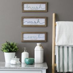 Word Wall Decor, Wall Decor Set, Bathroom Wall Decor, White Bathroom, Small Bathroom, Bathroom Ideas, Bathroom Shelves, Bathroom Designs, Bathroom Organization