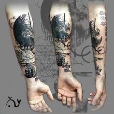 Le tattoo géométrique abstrait de Florent.