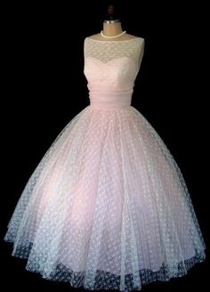 1950 polka dot Mesh prom dress