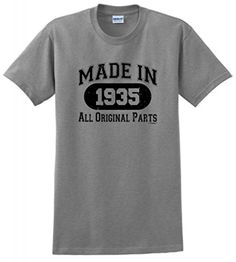 80th Birthday Gift Made 1935 Original Distressed T-Shirt Large Sport Grey