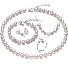 Rice shape real pearl four piece suit accessories necklace pendant ring and earrings women's wedding party jewelry //Price: $51.00 & FREE Shipping // Get it here ---> http://bestofnecklace.com/rice-shape-real-pearl-four-piece-suit-accessories-necklace-pendant-ring-and-earrings-womens-wedding-party-jewelry/    #best_of_Necklace