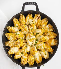Overhead View of Cheesy Chicken Bacon Ranch Stuffed Shells in Skillet
