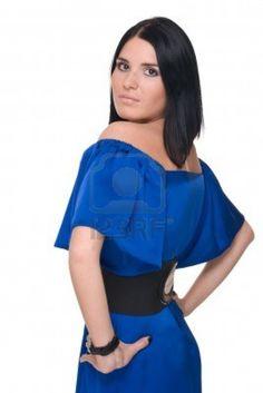 Closeup portrait of beautiful fashion woman in blue