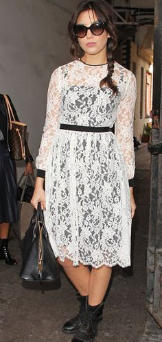 LACE MEETS STREET! Daisy Lowe wearing Erdem Resort 2014 at Erdem's Spring/Summer 2014 show.