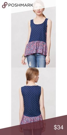 "NWOT Anthropologie Postmark Petaled Peplum Tank M Whether over skinnies or paired with a pencil skirt, peplum tops never fail to create a flattering silhouette. We love this tank's cheery floral mix-print. * Pullover styling * Rayon * Hand wash * 28""L * Imported * Style No. 28596997 Comes from a smoke and pet free home Item is new without tags and has never been worn Comes from a smoke and pet free home. Item is new without tags and has never been worn.  My prices are firm. No trades or…"