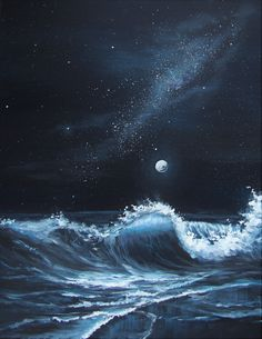 Learn how to paint the ocean waves and gorgeous night sky in this step by step tutorial Bonus Learn the differences between painting with acrylics vs oils Art lesson on Y. Acrylic Painting For Beginners, Acrylic Painting Techniques, Beginner Painting, Acrylic Painting Canvas, Acrylic Art, Painting Tools, Painting Art, Ocean Paintings, Watercolor Painting