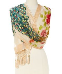 Loving this Taupe Floral Peacock Silk-Blend Shawl on #zulily! #zulilyfinds