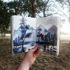"""Imaginary forest in the forest. """"The forest in me"""" sketchbook.  Cuaderno de bocetos """"El bosque dentro de mí"""" Adolfo Serra"""