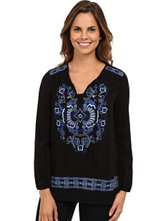 Karen Kane Embroidered Peasant Tie Top