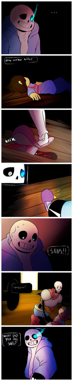 Sans, Frisk, and Papyrus #comic #blood #knife