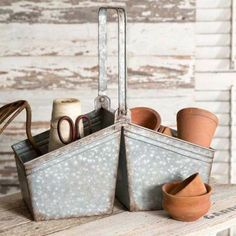 Picking Basket with Handle has so many uses.Use it for your gardening tools, holding yourfresh picked herbs, or as a condiment caddy for your table. It is a handy caddy for your office, sewing or craft rooms. Caddy has a rustic galvanized finish.