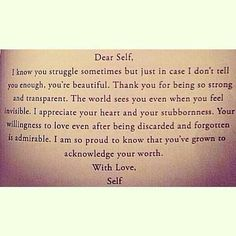 Acknowledge your self worth