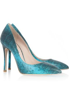 Miu Miu Python-effect leather pumps