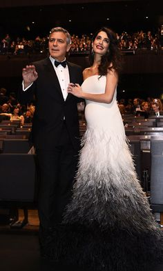 Pregnant Amal Clooney with her husband George Clooney