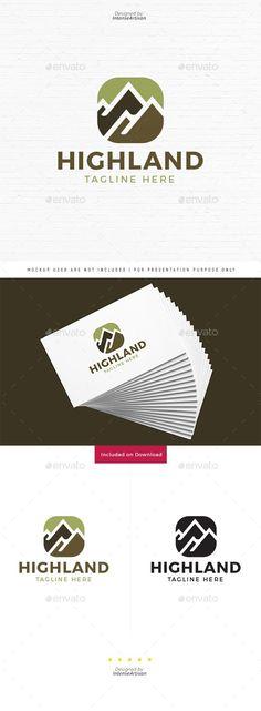 Highland Mountain Logo Template Vector EPS, AI Illustrator - best Graphic Design - Re-Wilding Logo Desing, Minimal Logo Design, Best Logo Design, Graphic Design, Design Logos, Mountain Logos, Mountain Designs, Tile Logo, Fruit Logo