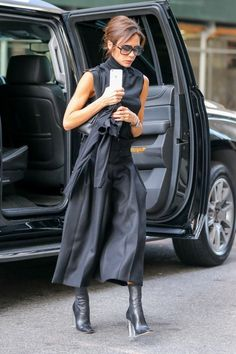 British singer and fashion designer Victoria Beckham is seen leaving her hotel on her way to a business meeting in New York City, New York on December 8, 2015.