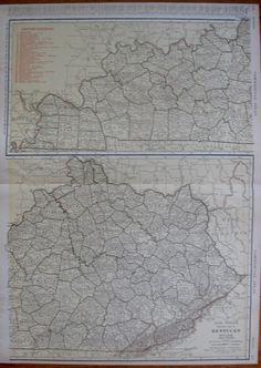 Rare KENTUCKY Map of Kentucky With RAILROADS by plaindealing