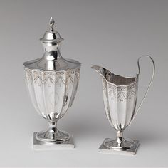 Sugar Bowl and Creamer, 1790–1800 -   Paul Revere, Jr. (American, 1734–1818)  Silver