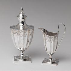 Sugar Bowl and Creamer, 1790–1800 -   Paul Revere, Jr. (American, 1734–1818)  Silver
