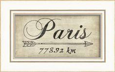 The Artwork Factory Paris 778Km Framed Print The Artwork Factory