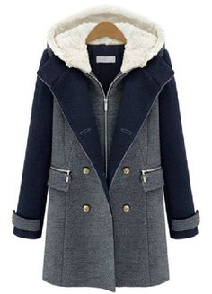 c550bd07335 Slim Casual Double Breasted Patchwork Hood Woolen Coat is hot sale on  Newchic