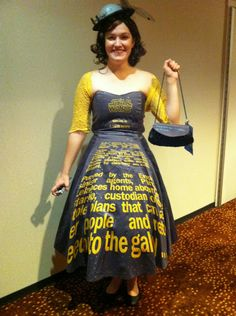 Star Wars Opening Crawl Dress - Nice work with the proper crawl effect there and accessorised with a Death Star hat too!