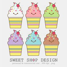 Cute Ice Cream Clip Art, Bakery Clip Art, Baby Shower Clip Art, Royalty Free Clipart, Instant Download